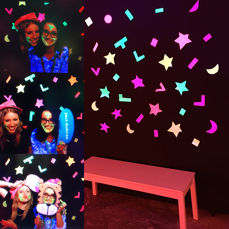 zdjęcia obrazujące jak działa fotobudka fluorescencyjna